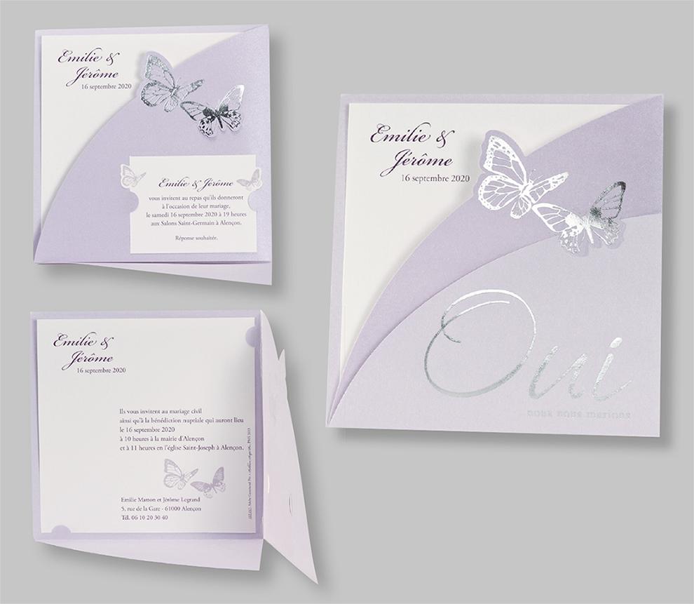 Faire-part de mariage Oui et papillons 102057