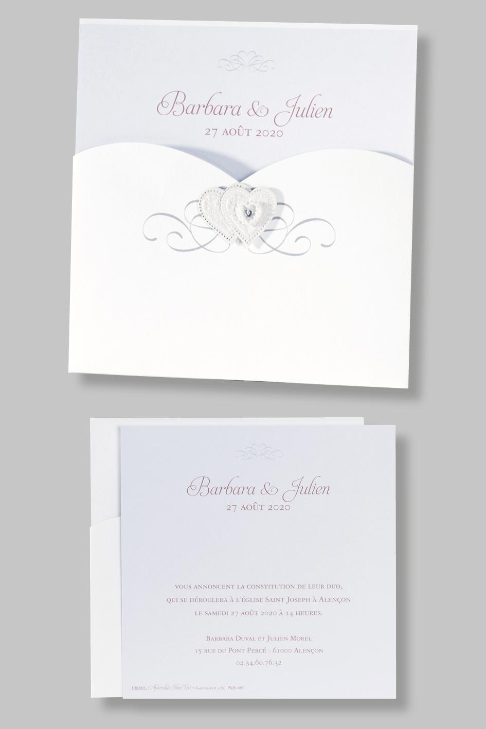 Pochette mariage cœur 106001