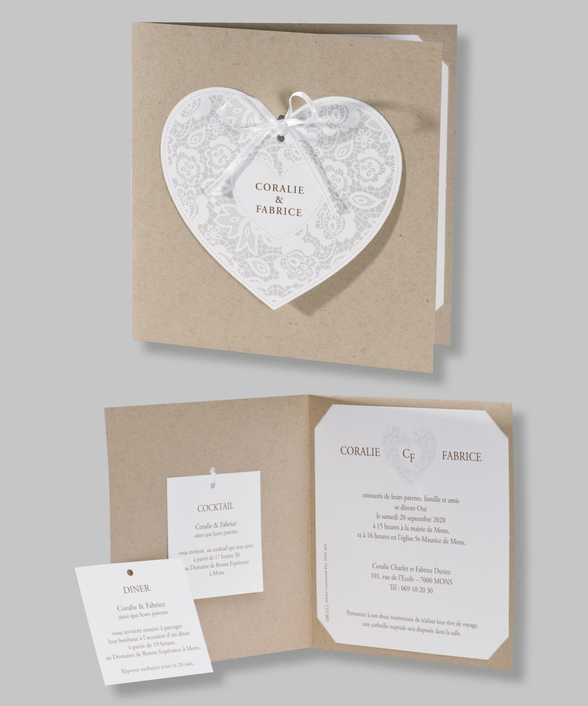 Carte mariage et dentelle 106117