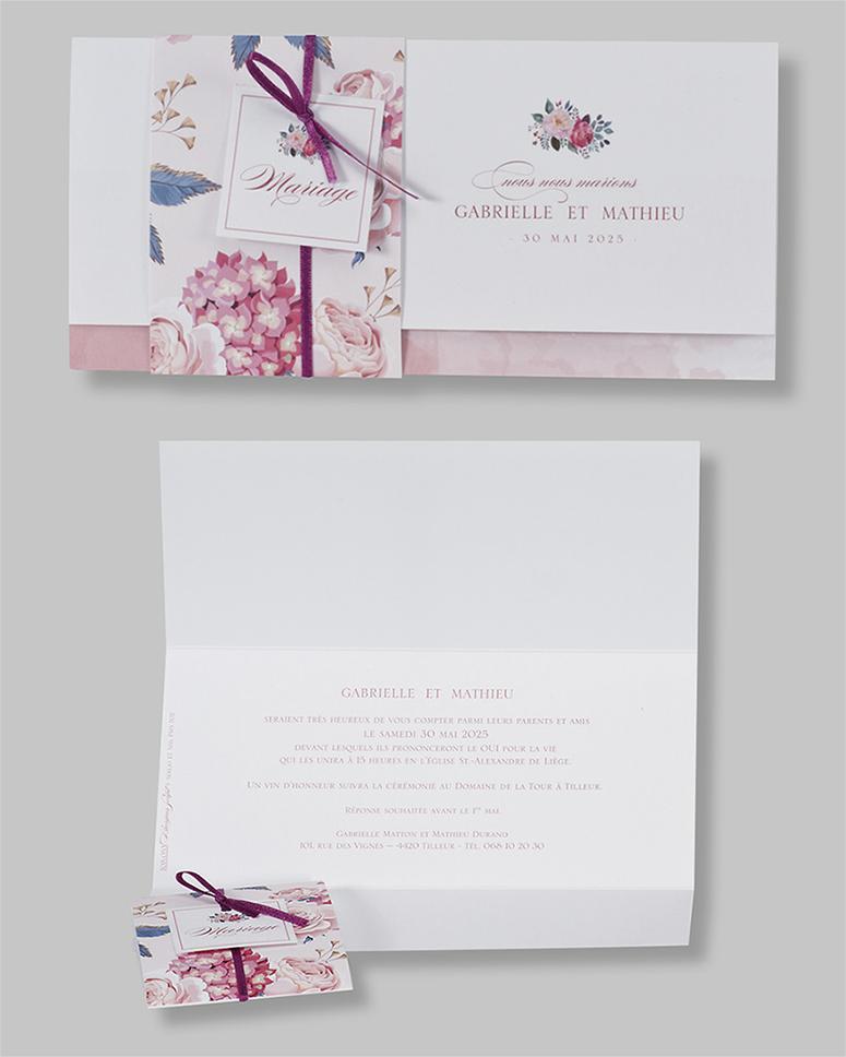 Faire-part mariage pochette fleurie 108053