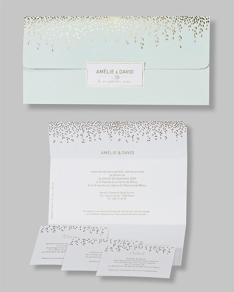 Faire-part mariage feuilles dorées 108070
