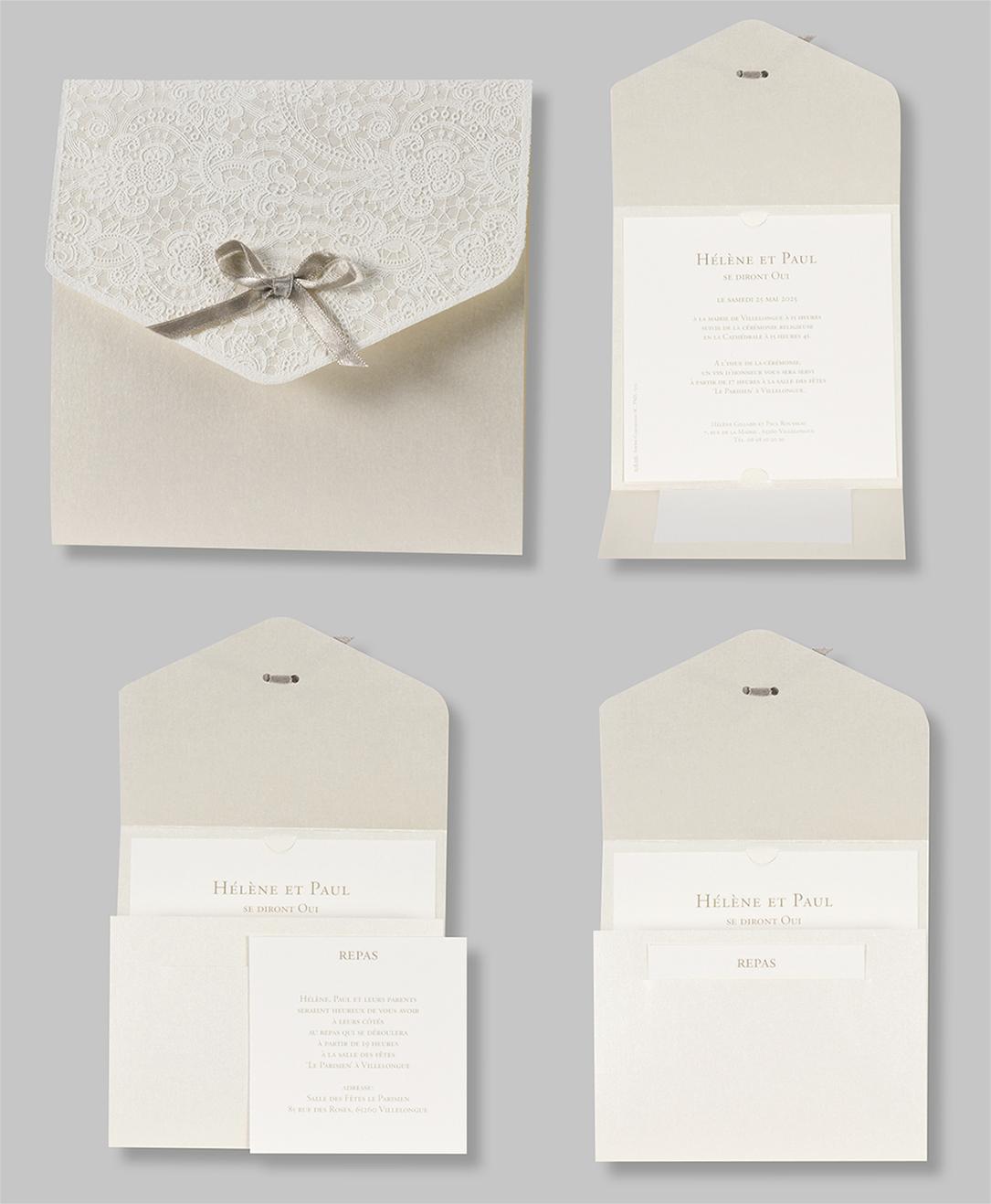 Faire-part mariage dentelle et ruban 108116