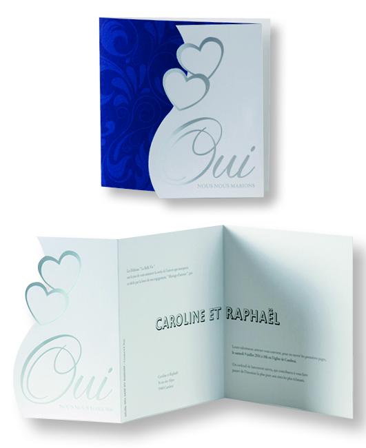 """Faire-part de mariage """"Oui avec Cœurs"""" 105056"""