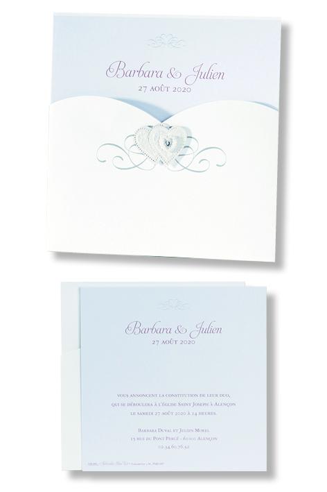 """Faire-part de mariage """"Pochette avec Cœurs"""" 106001"""