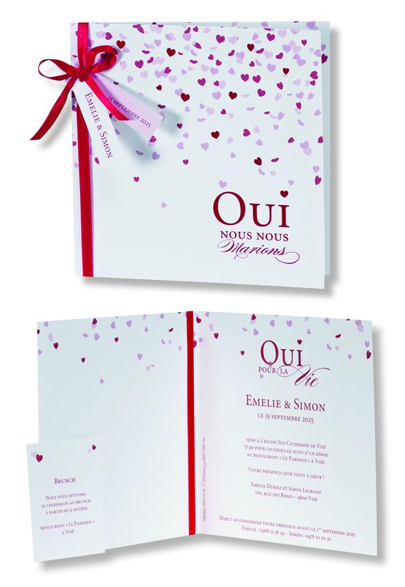 """Faire-part de mariage """"Cœurs Rouges"""" 108017"""