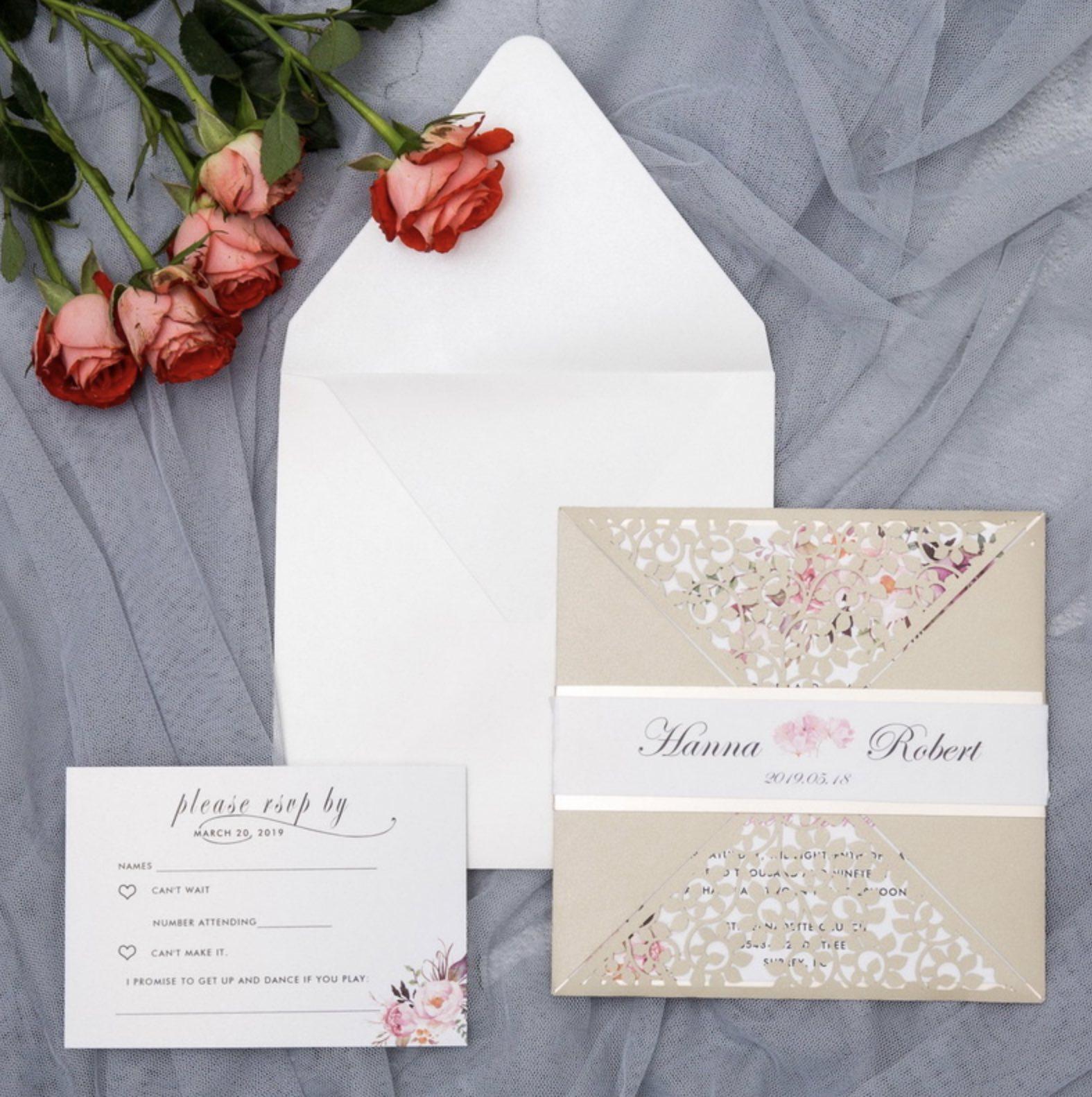 Faire-part de mariage ciselé (effet dentelle) par Kim Slugocki DPL0001
