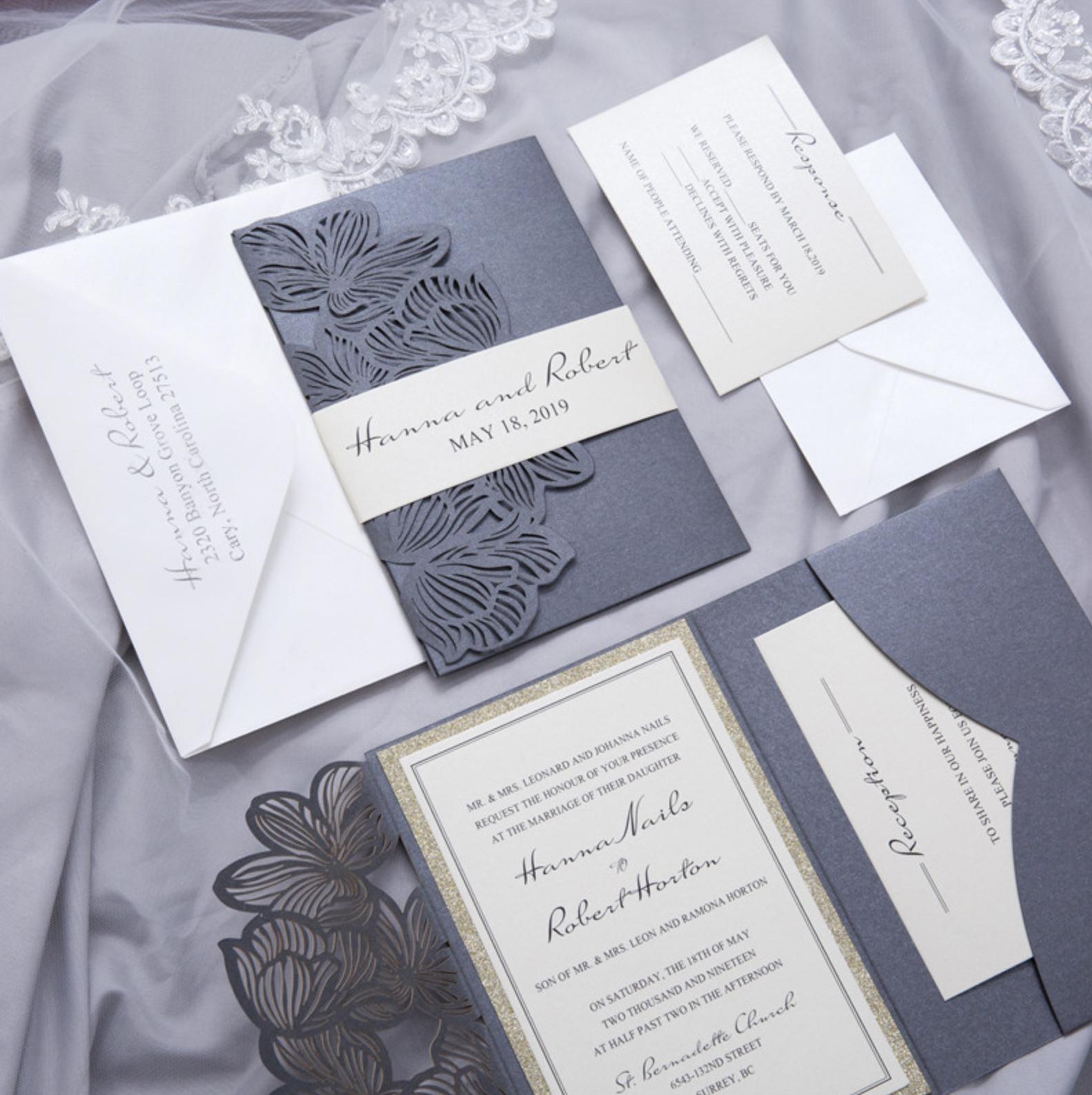 Faire-part mariage ciselé pochette WPFB2120