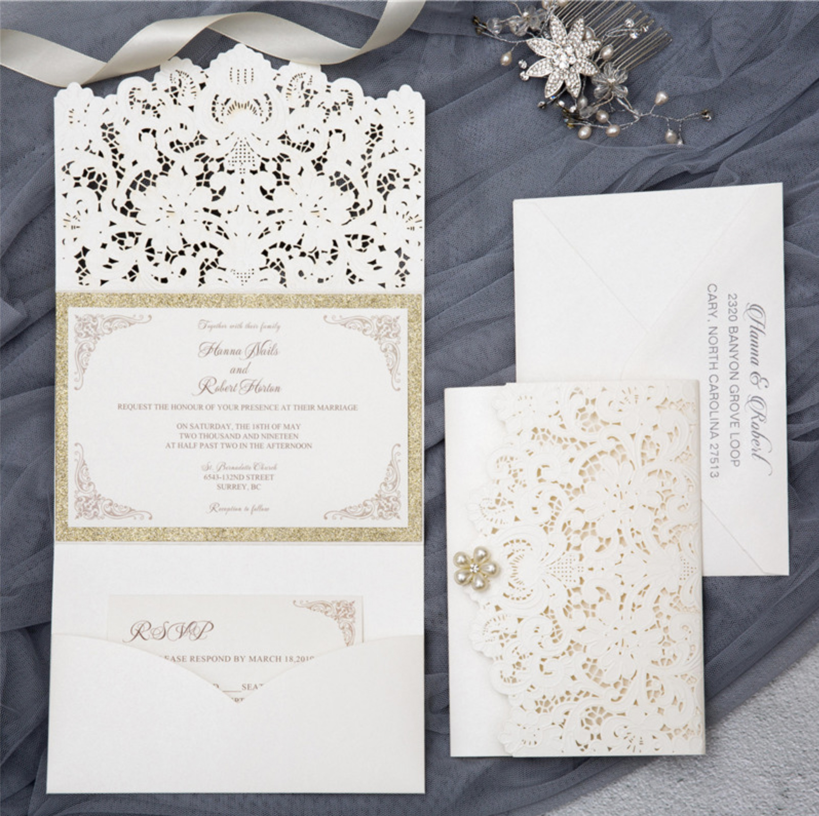 Faire-part mariage ciselé pochette WPFB2121