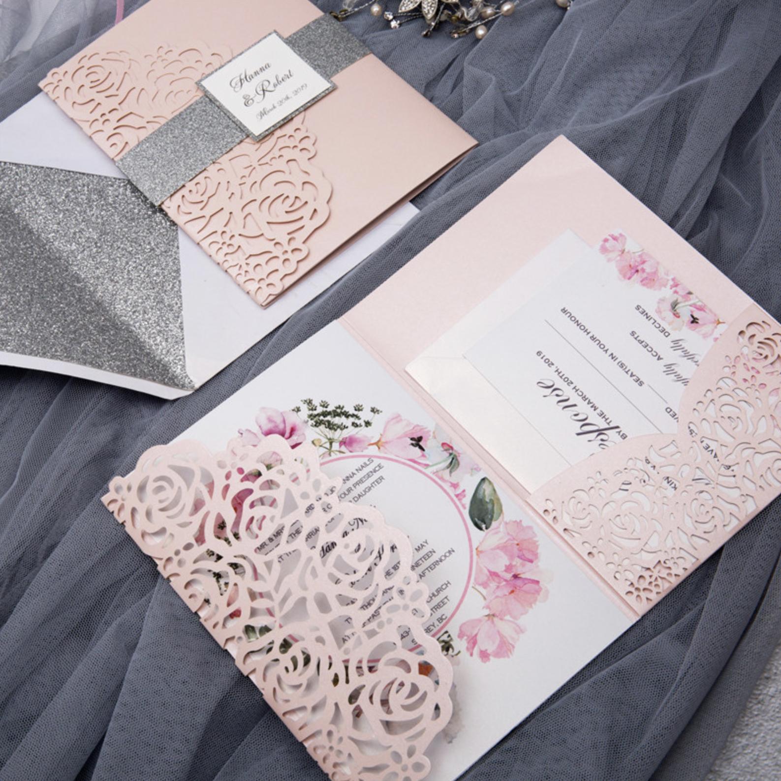 Faire-part mariage ciselé pochette WPFC2122