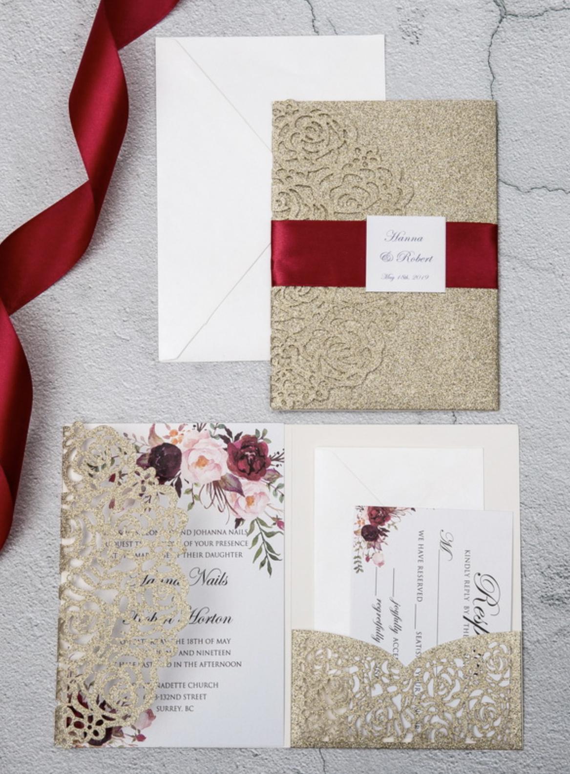 Faire-part mariage ciselé pochette papier brillant WPFC2122G