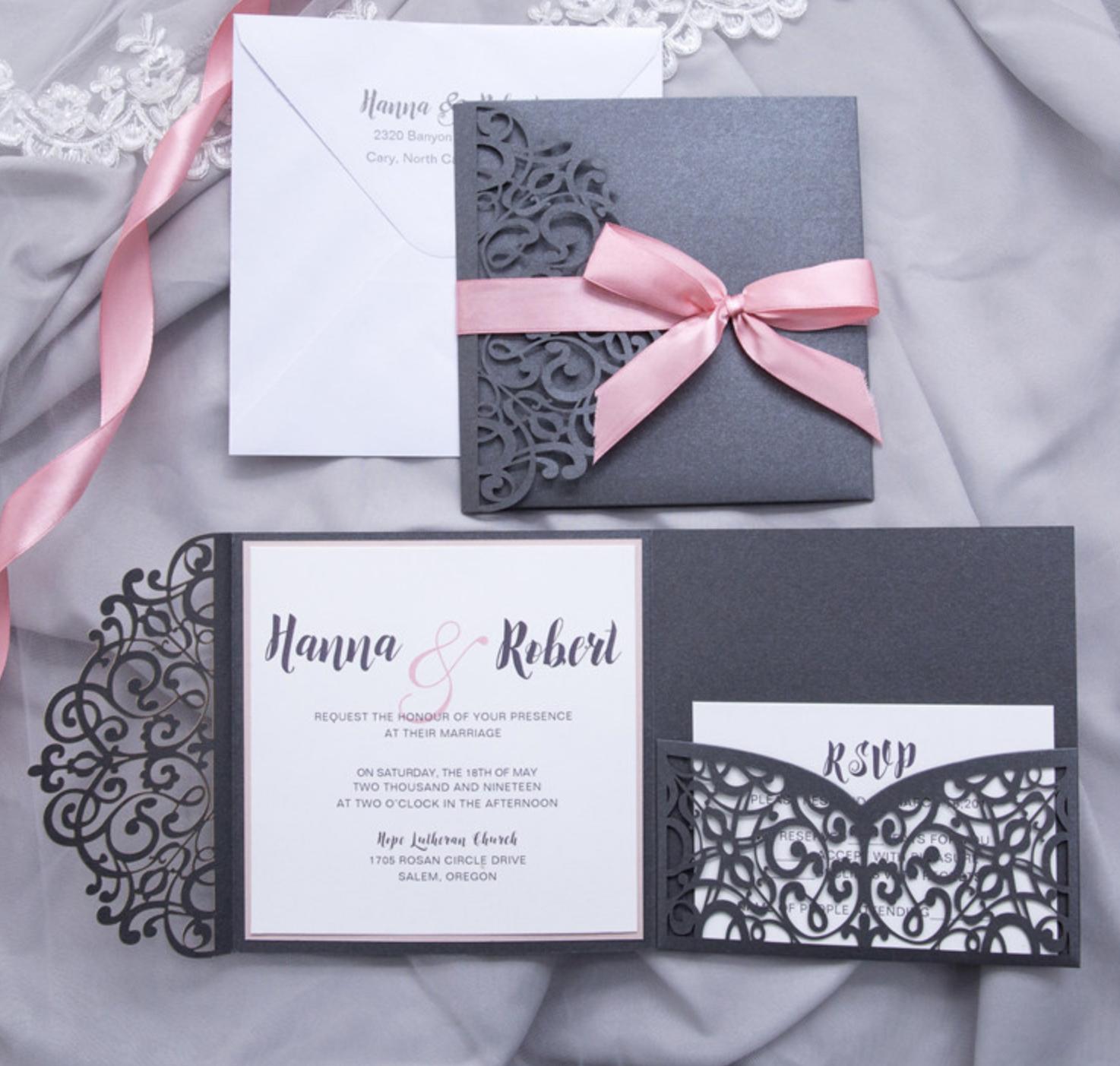 Faire-part mariage ciselé pochette WPFC2125