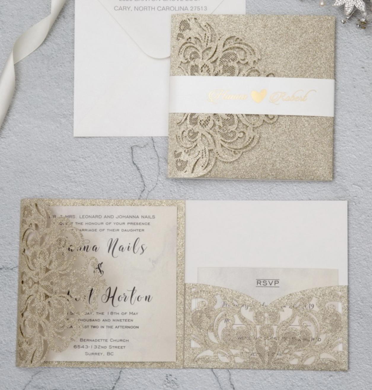 Faire-part mariage ciselé pochette papier brillant WPFC2126G