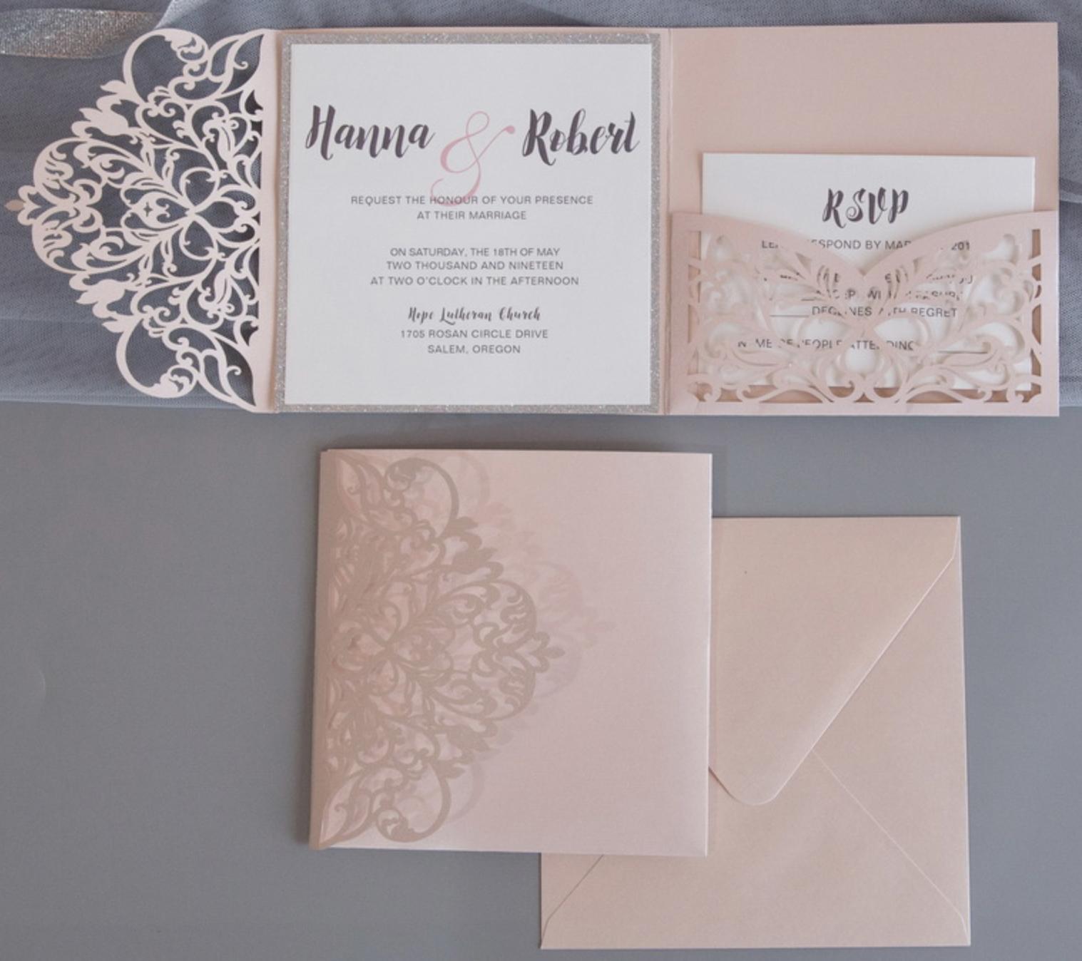 Faire-part mariage ciselé pochette WPFC2129