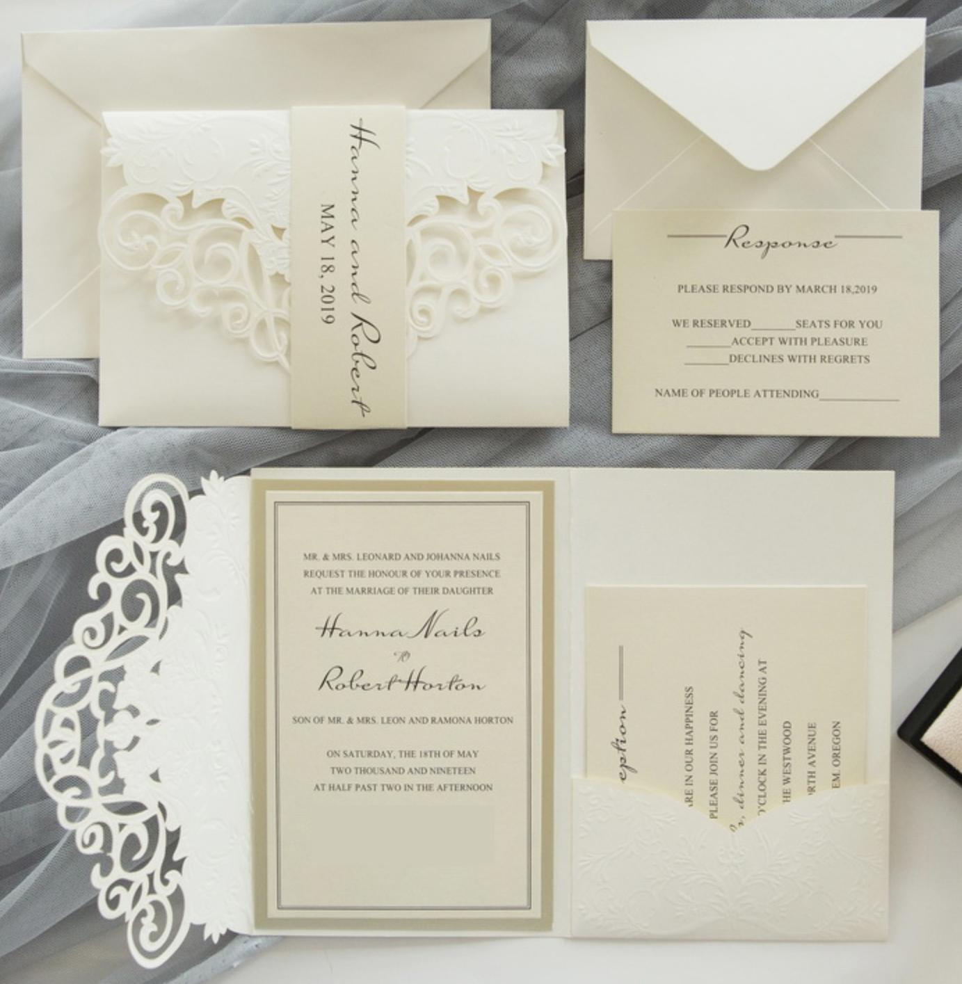 Faire-part mariage ciselé pochette WPFC2130