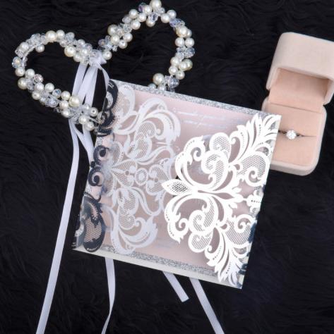 Faire-part mariage ciselé papier miroir WPL0002F
