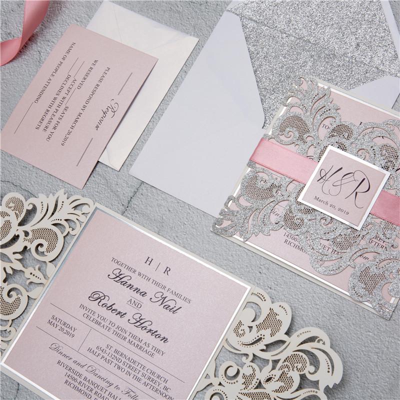 Faire-part mariage ciselé papier brillant WPL0002G