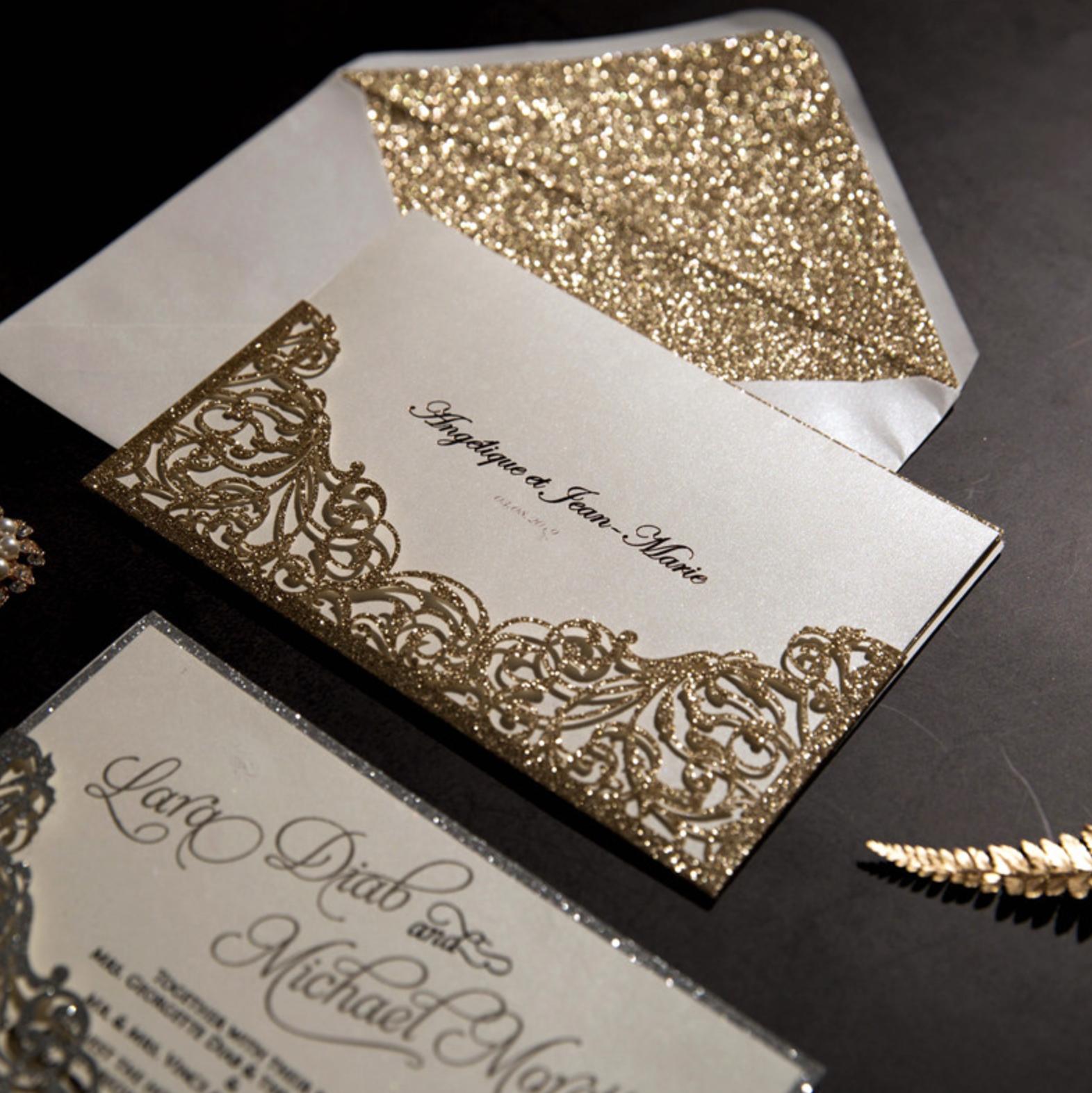 Faire-part mariage ciselé papier brillant WPL0007G