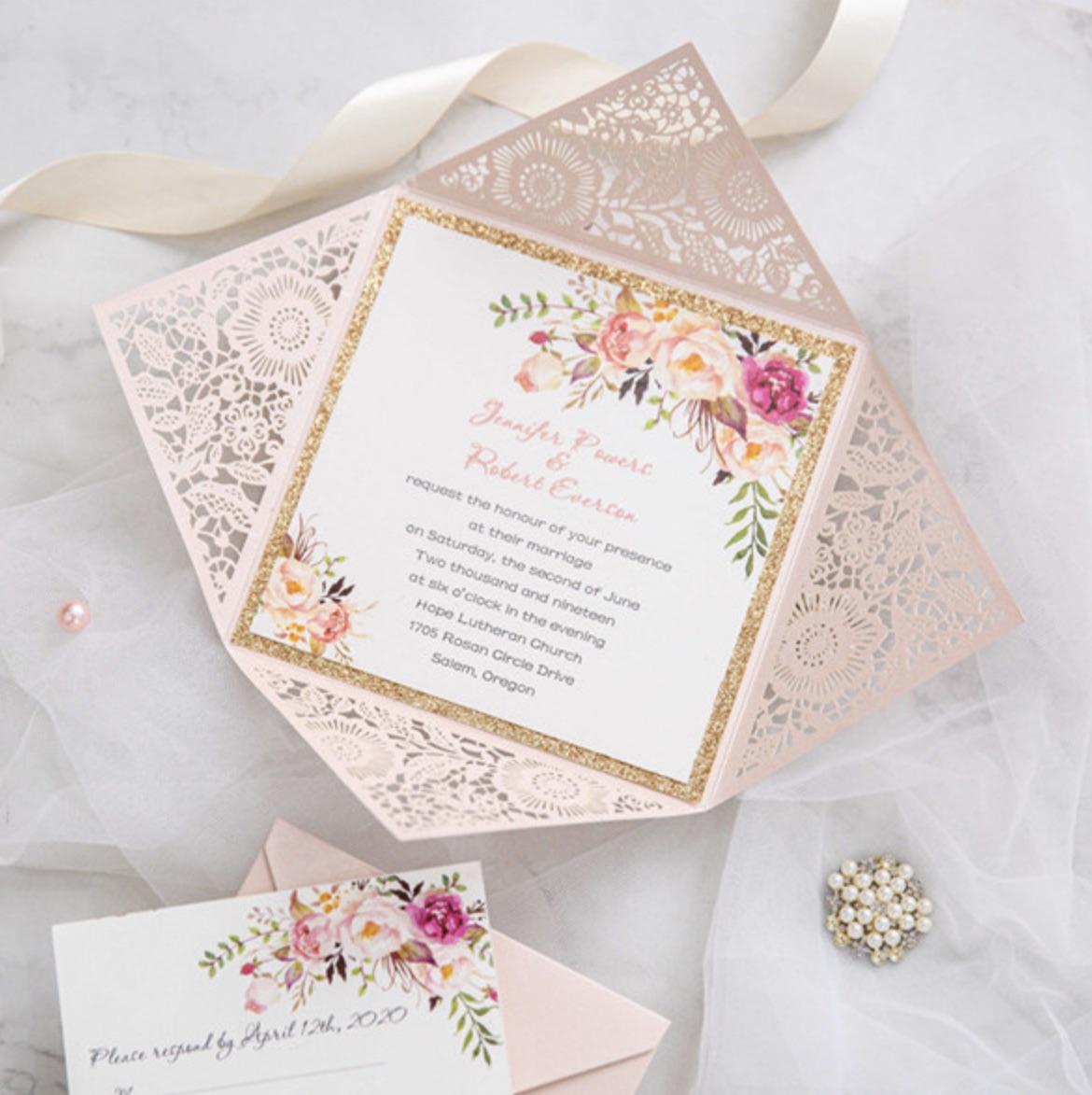 Faire-part de mariage ciselé (effet dentelle) WPL0015