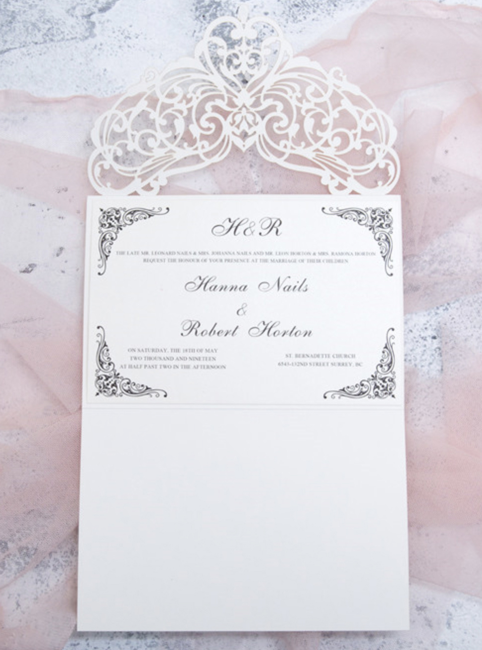 Faire-part mariage ciselé WPL0018 ouvert