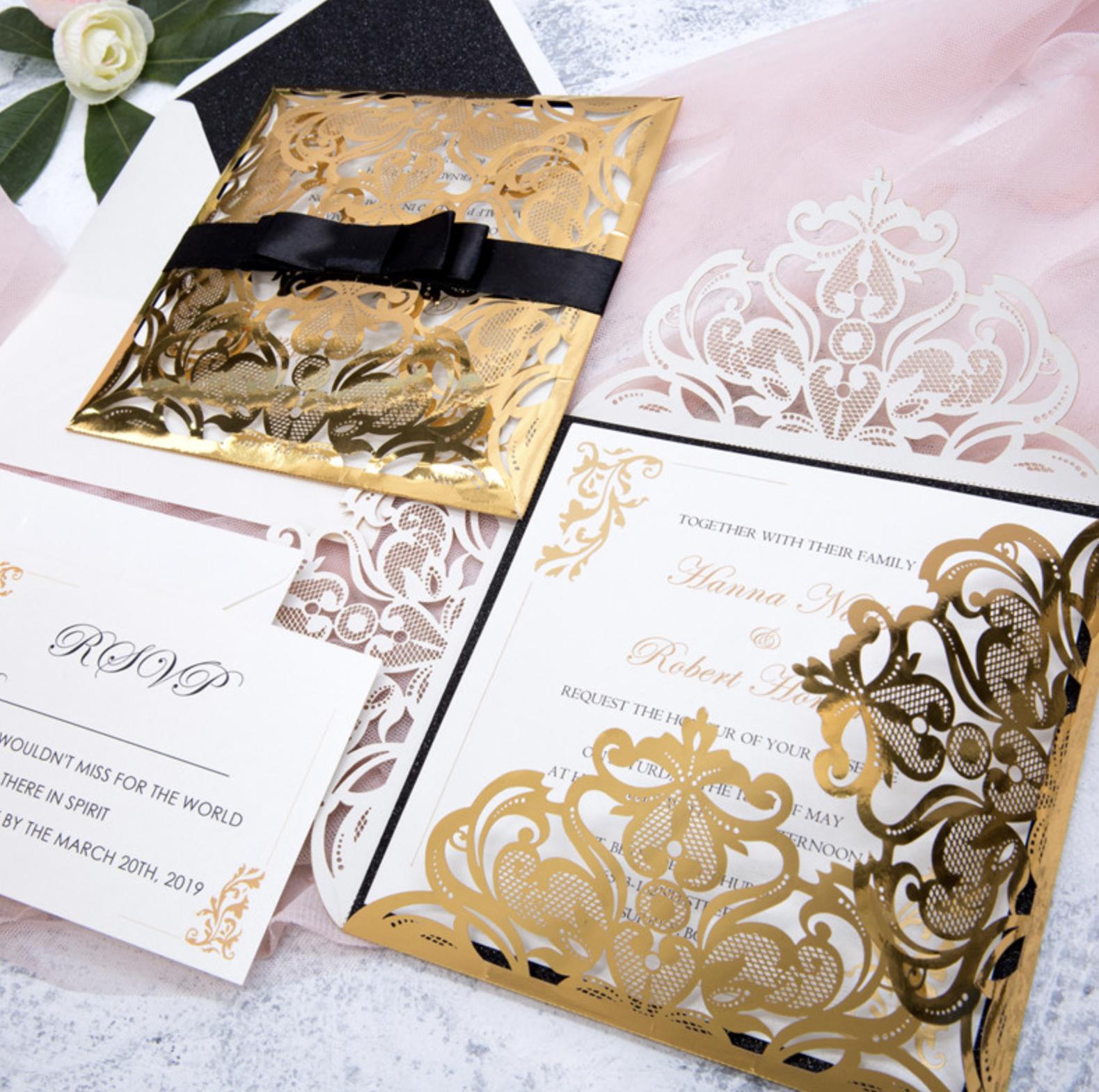 Faire-part mariage ciselé papier miroir WPL0019F