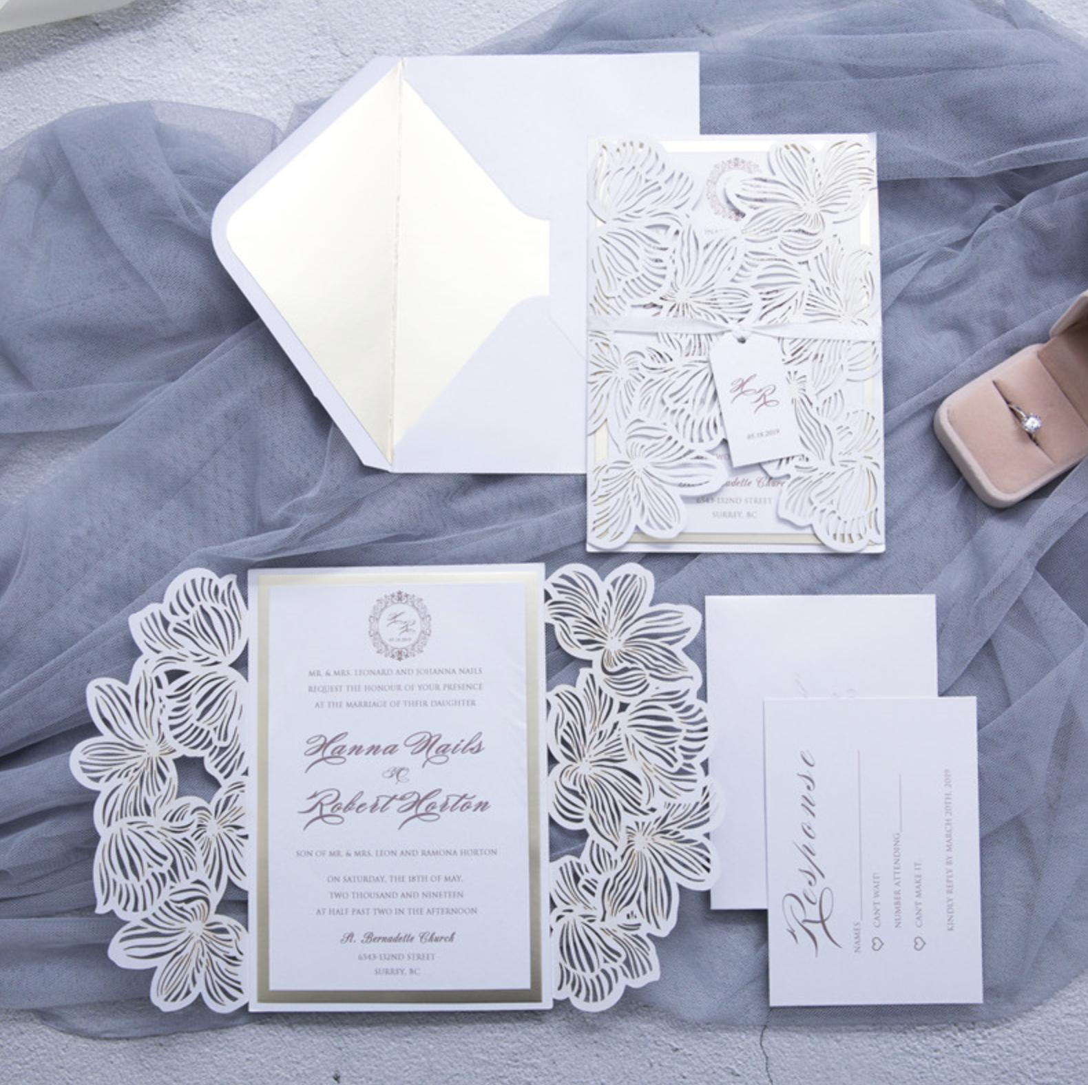 Faire-part mariage ciselé WPL0020
