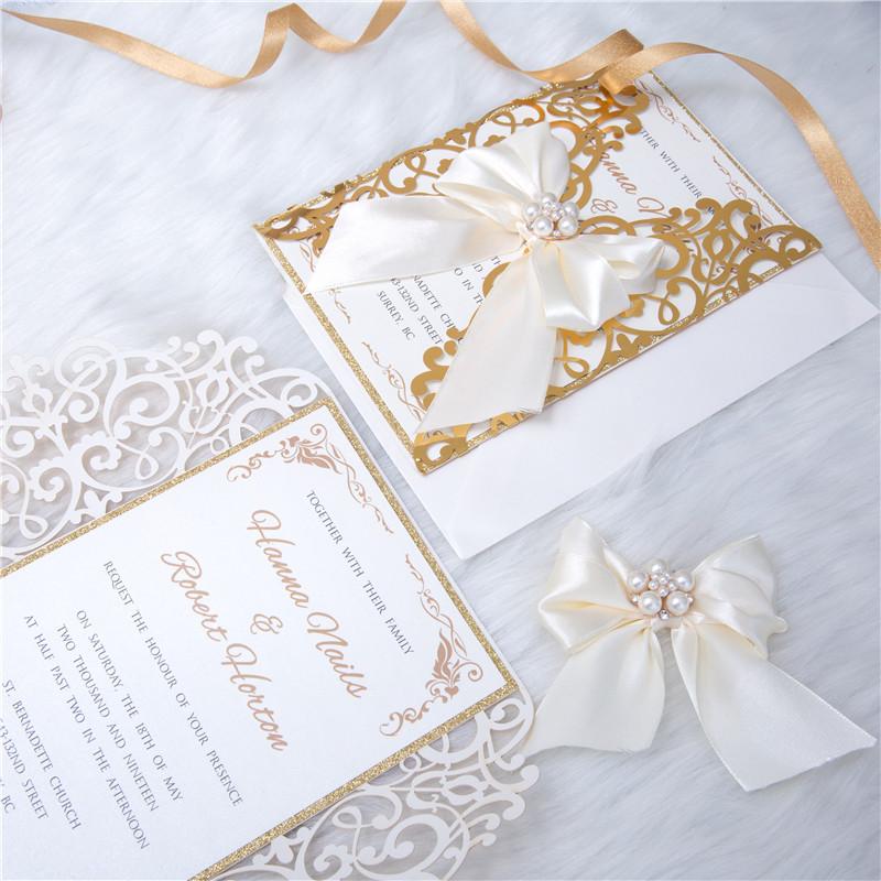 Faire-part mariage ciselé papier miroir WPL0041F