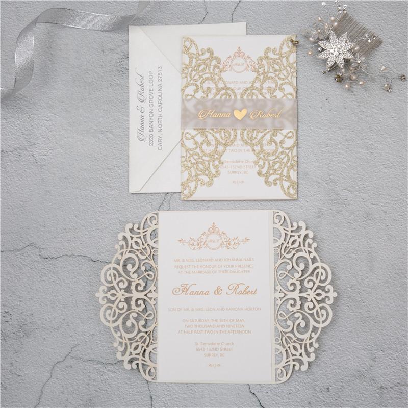 Faire-part mariage ciselé papier brillant WPL0041G