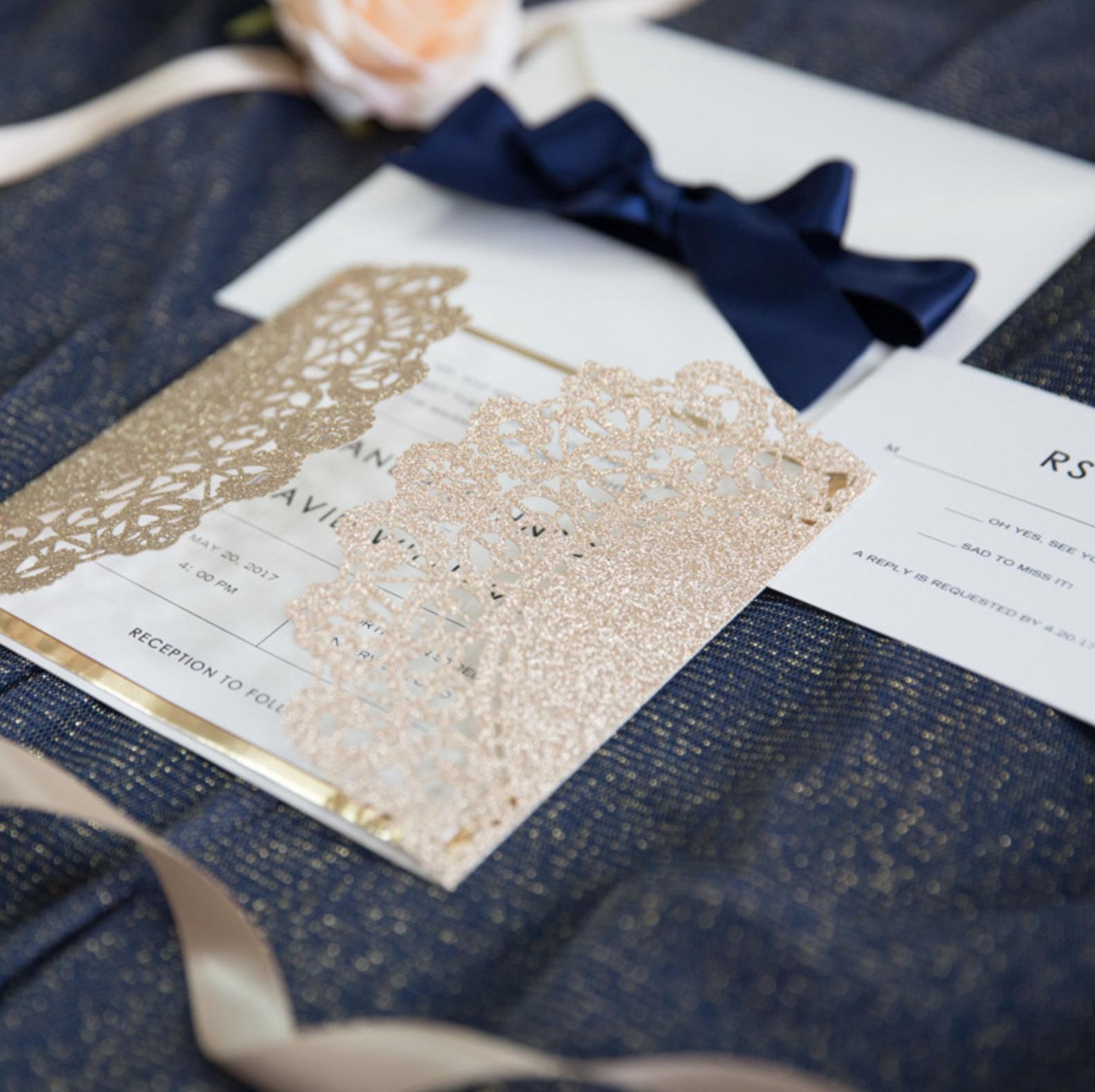 Faire-part mariage ciselé papier brillant WPL0067G