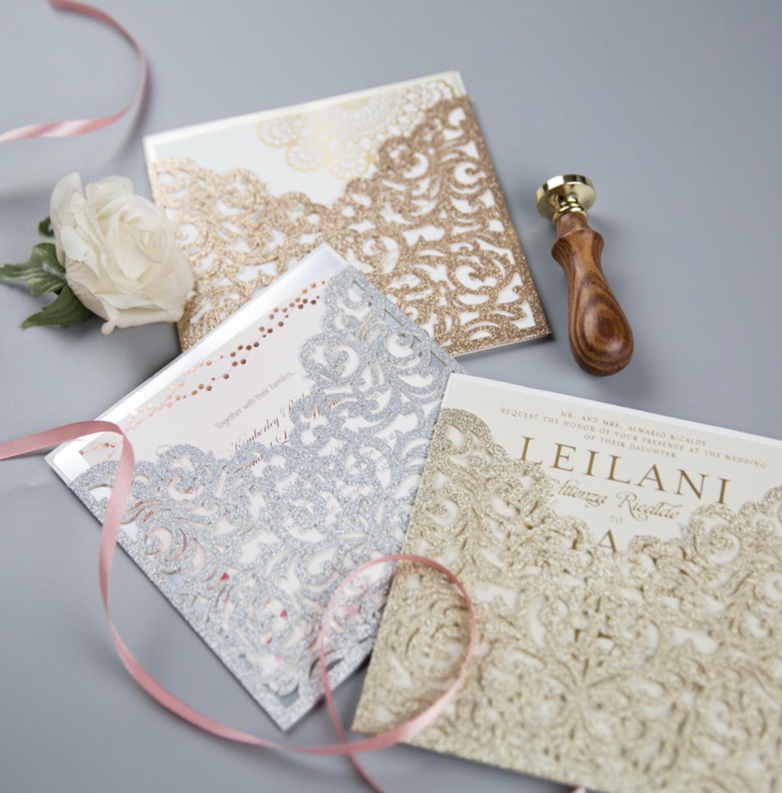 Faire-part mariage ciselé papier brillant WPL0070G