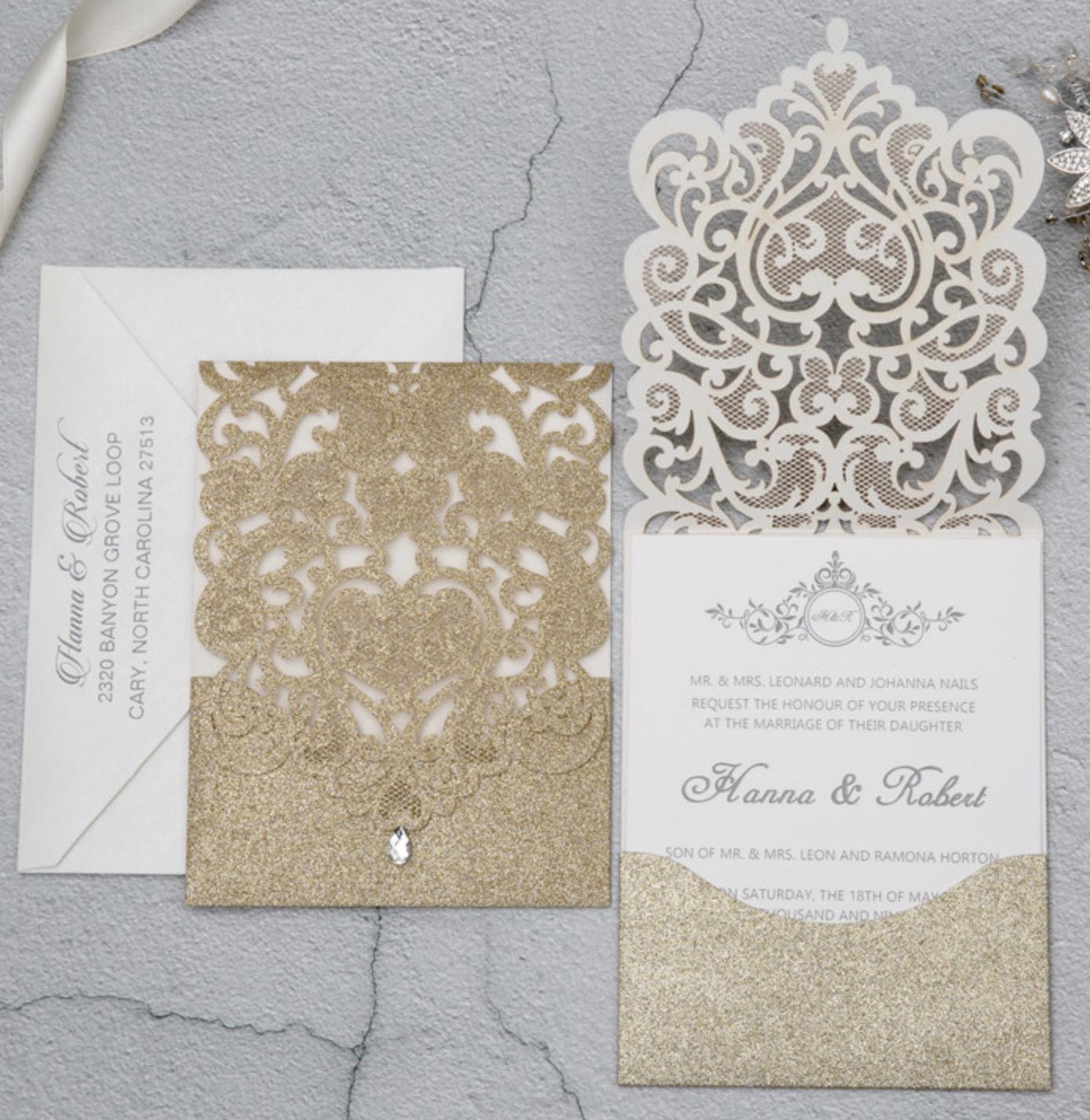 Faire-part mariage ciselé pochette papier brillant WPL0074G