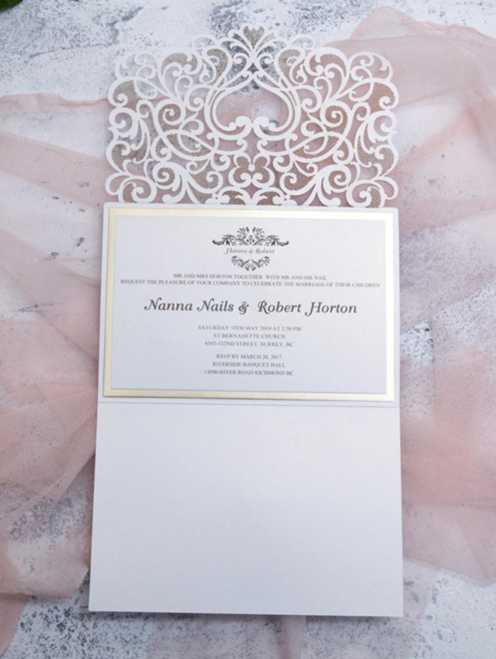 Faire-part mariage ciselé WPL0076 ouvert