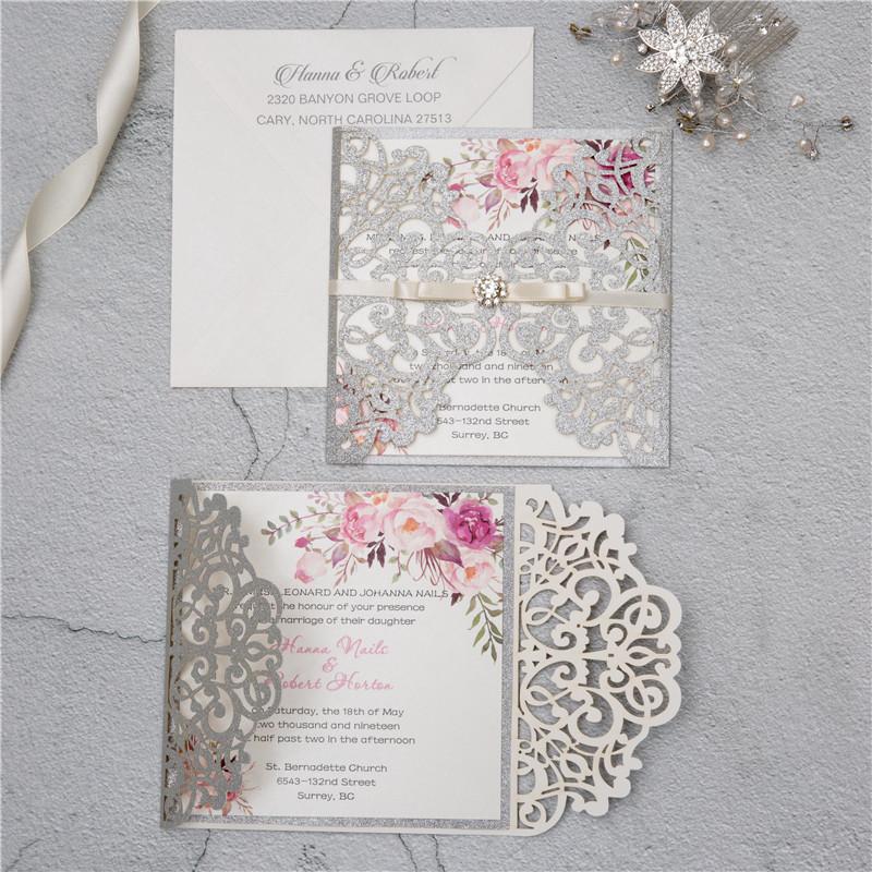 Faire-part mariage ciselé papier brillant WPL0135G