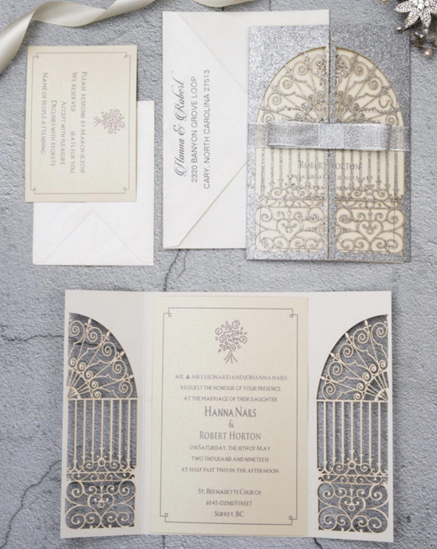 Faire-part mariage ciselé papier brillant WPL0139G