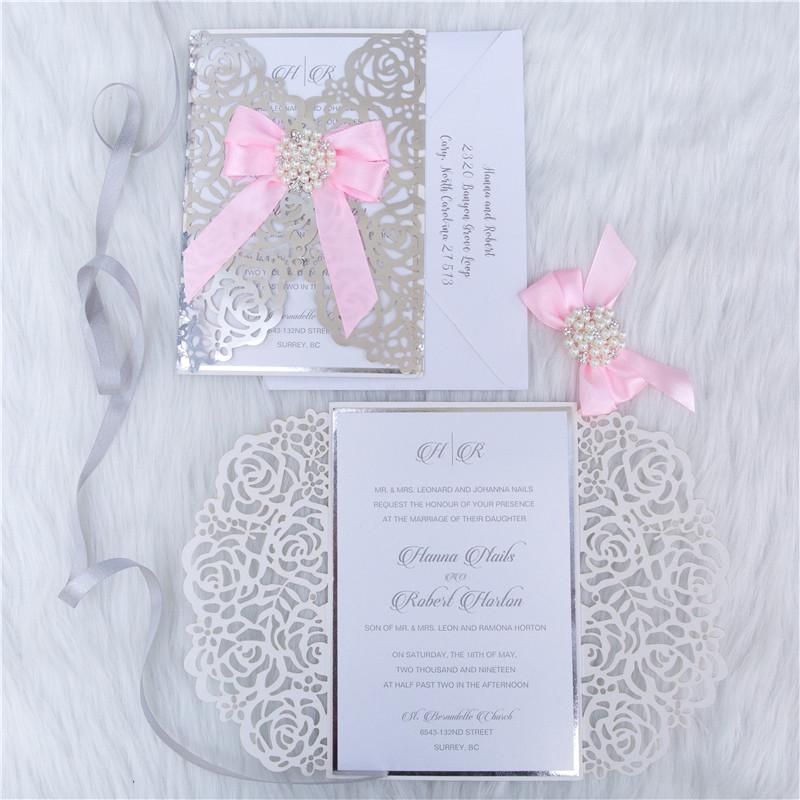 Faire-part mariage ciselé papier miroir WPL0140F