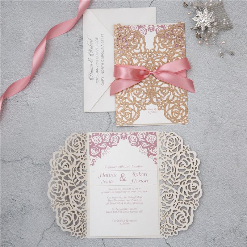 Faire-part mariage ciselé papier brillant WPL0140G