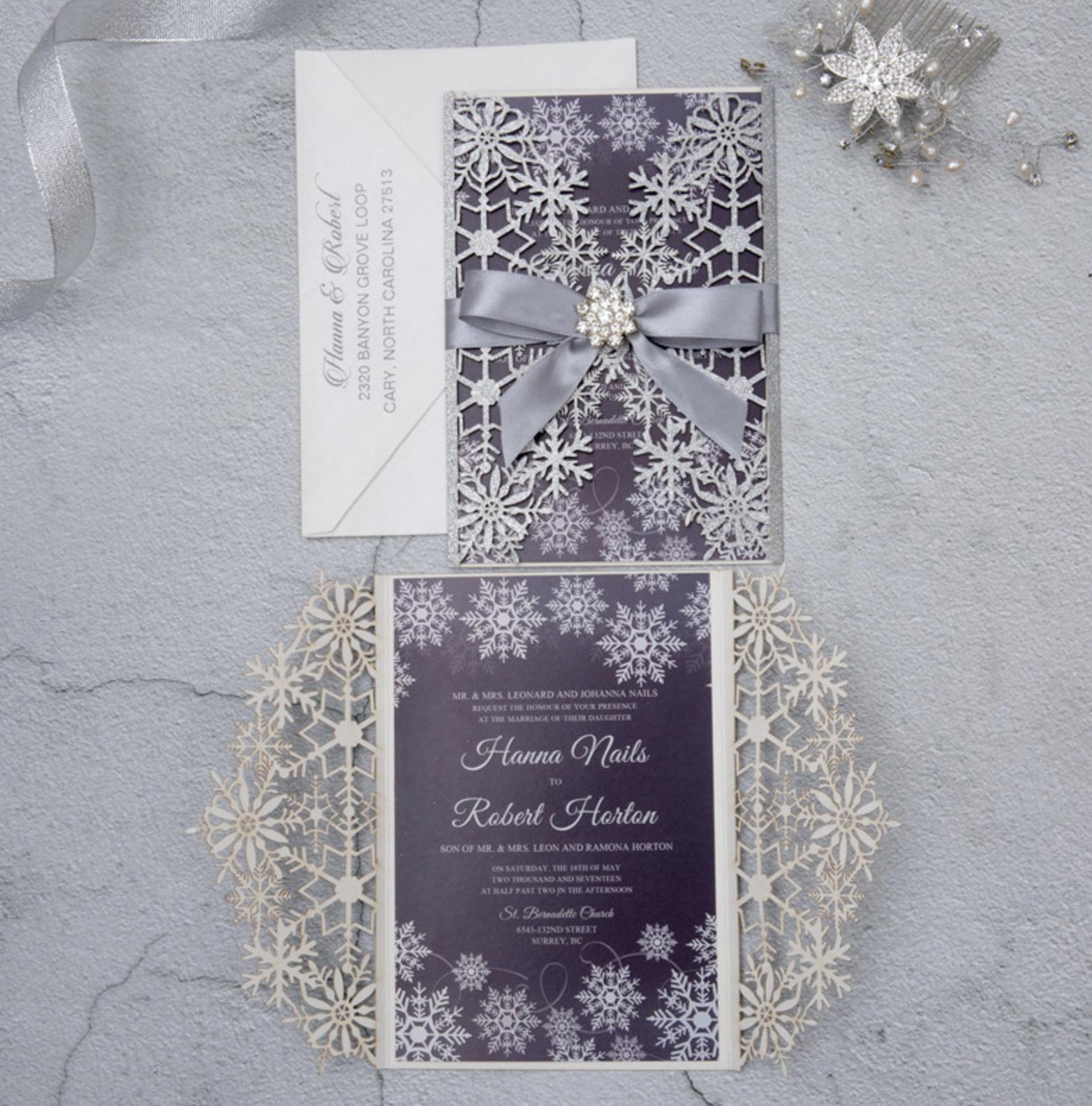 Faire-part mariage ciselé papier brillant WPL0154G