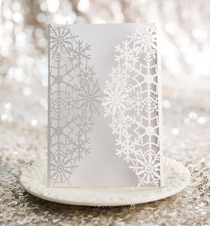 Faire-part mariage ciselé flocon de neige WPL0154