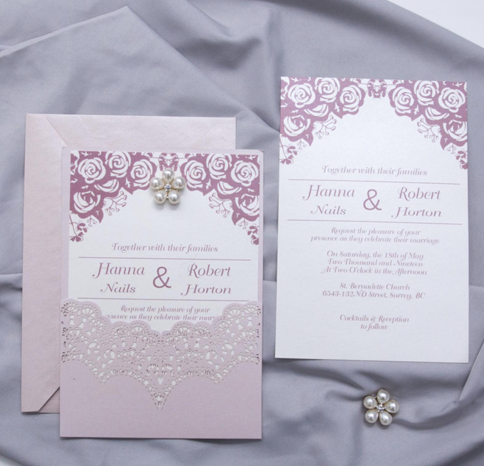 Faire-part de mariage ciselé (effet dentelle) WPL0155