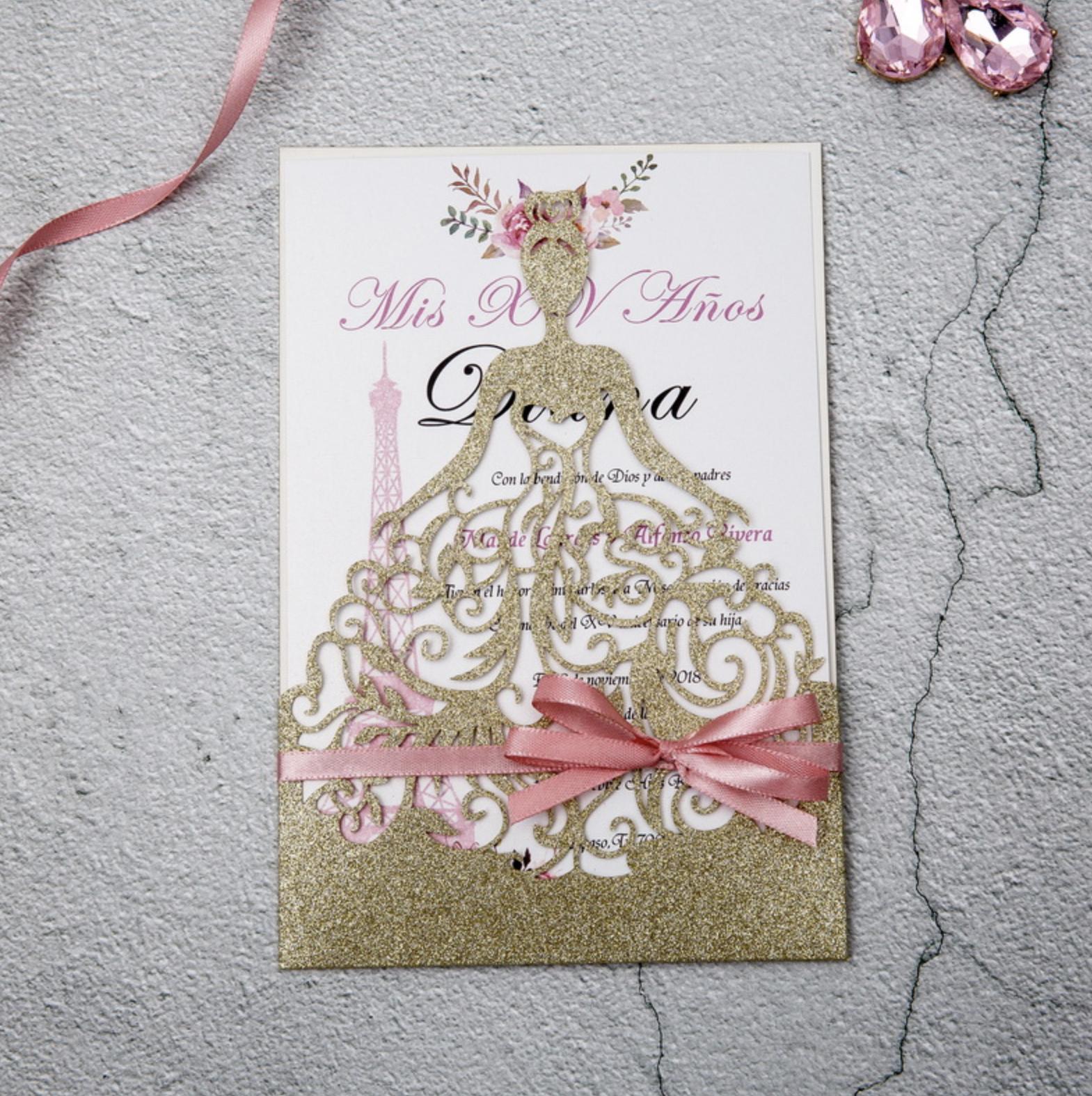 Faire-part mariage ciselé papier brillant WPL0161G