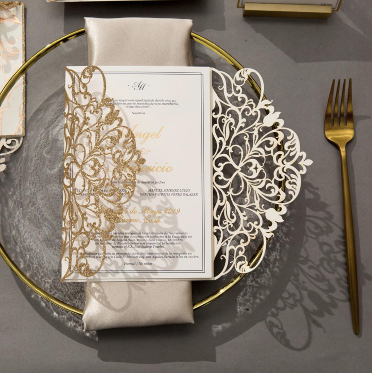 Faire-part mariage ciselé papier brillant WPL0179G