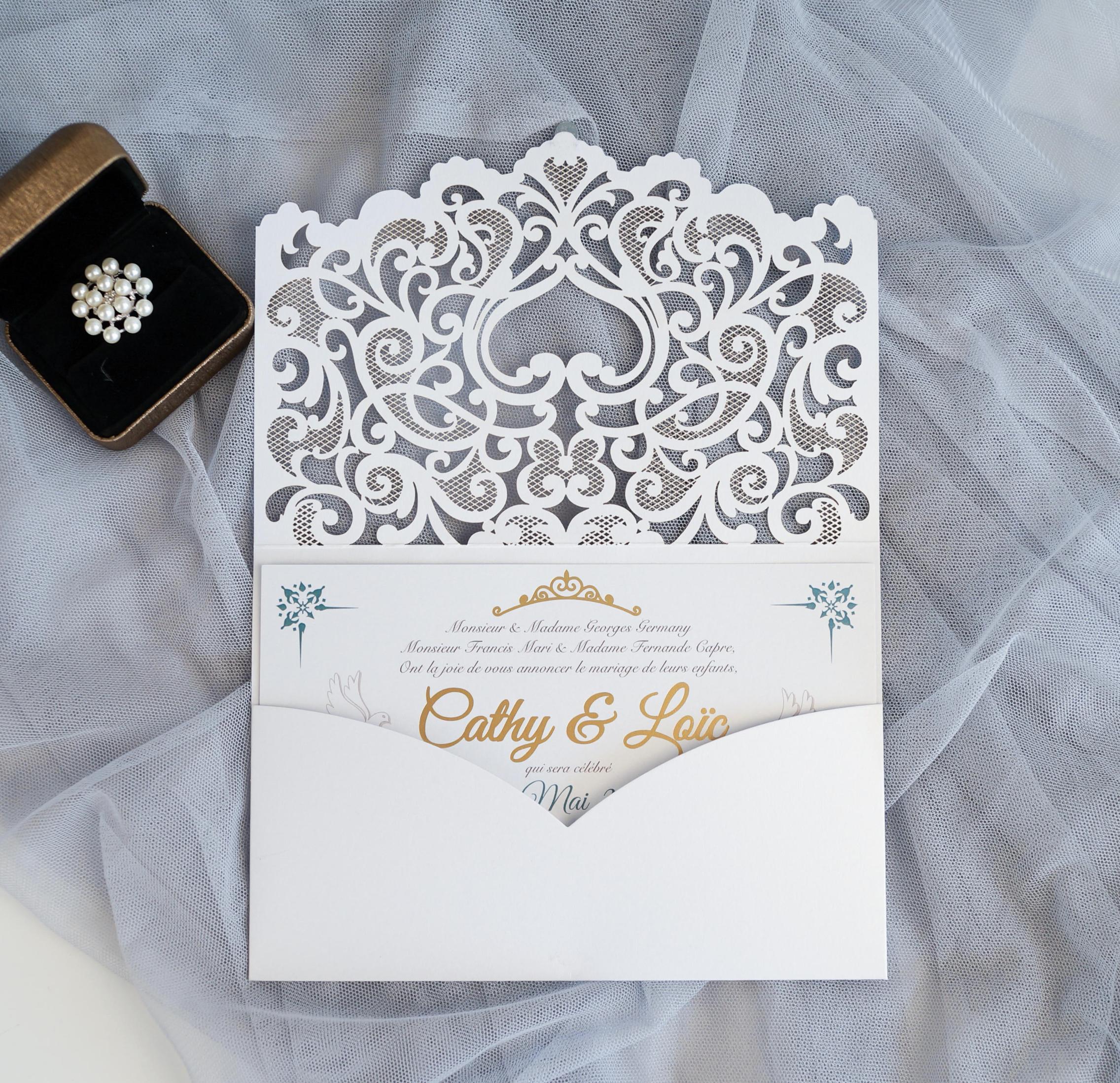 Faire-part mariage ciselé pochette WPL0180 ouvert