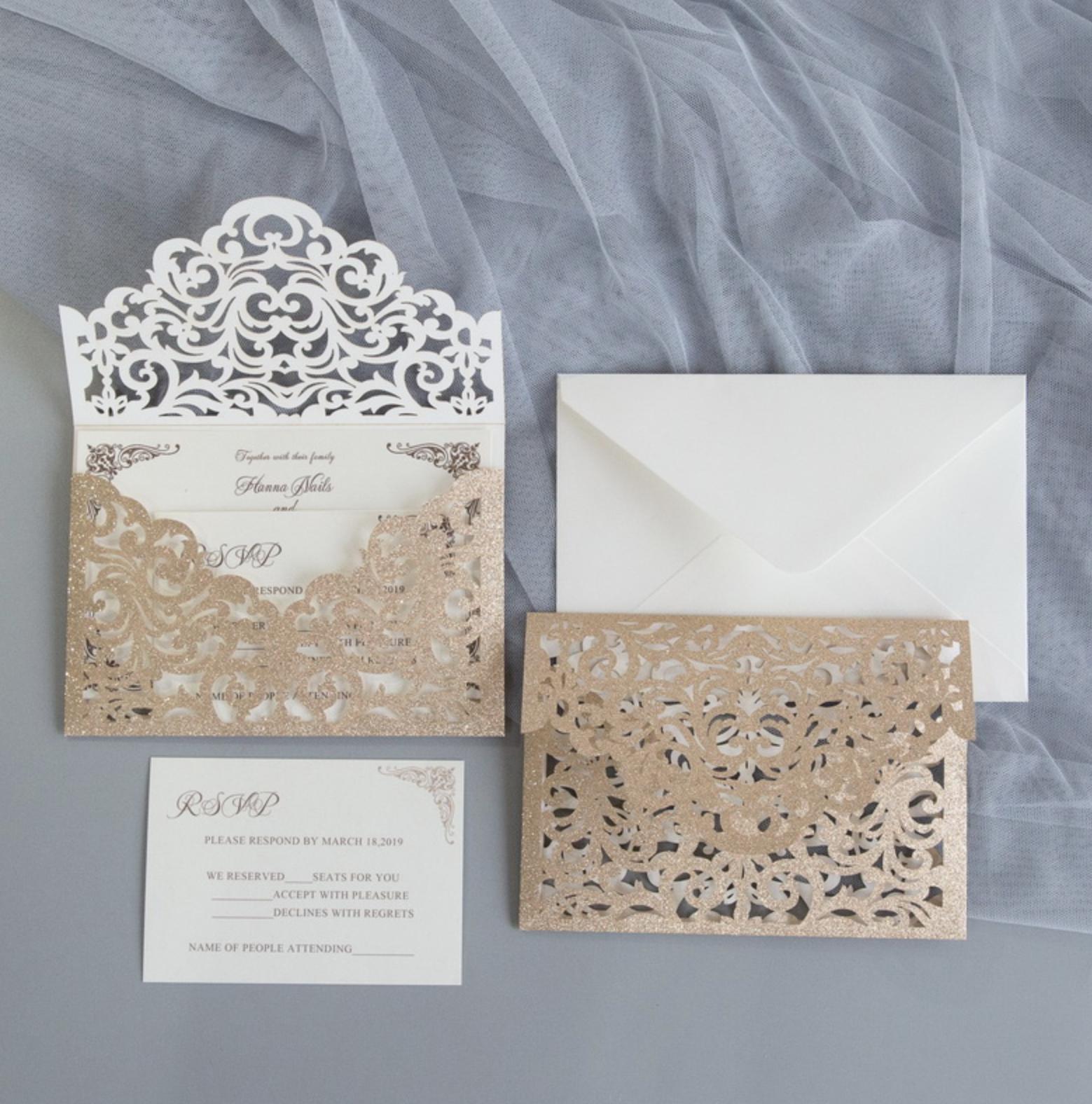 Faire-part mariage ciselé papier brillant WPL0189G