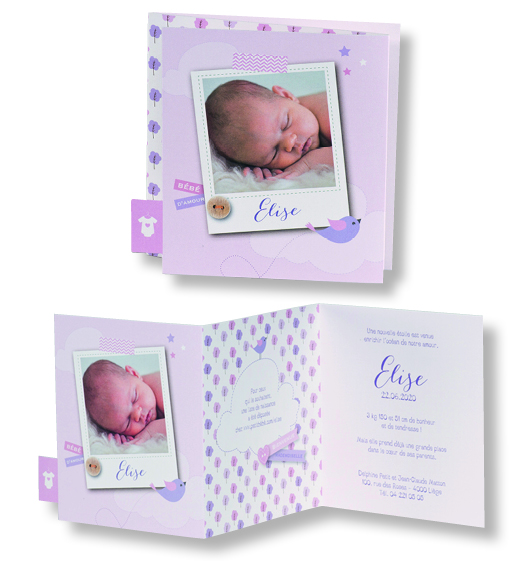 "Faire-part de naissance ""Bouton, Photo et Body"" 507052"