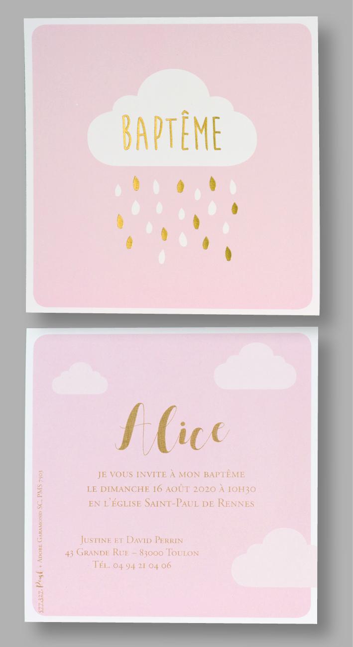 Carte baptême rose et nuage 577327