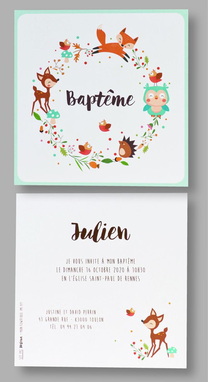 Carte baptême animaux de la forêt 577392