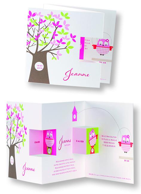 """Faire-part de naissance """"Gentille Chouette"""" 584059"""