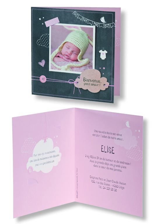 """Faire-part de naissance """"Ardoise et Rose"""" 586071"""