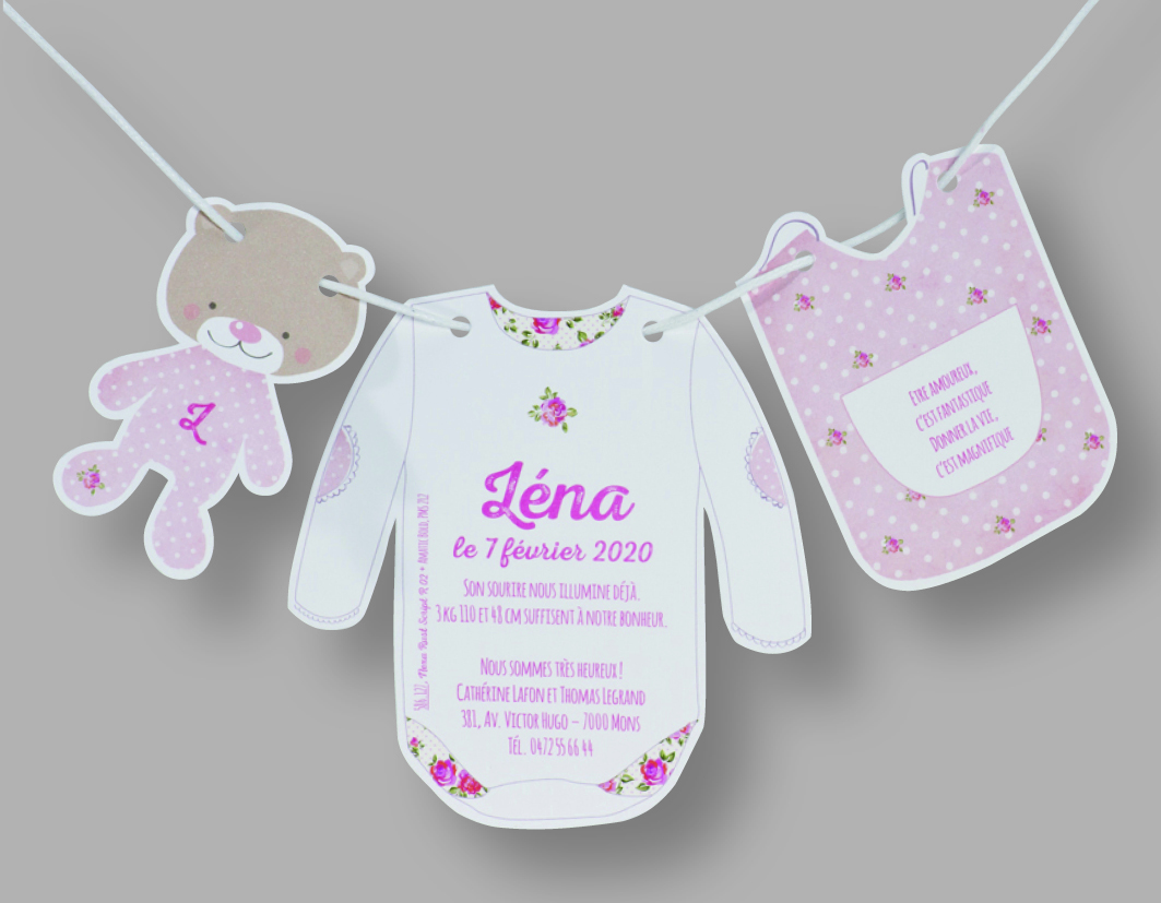 Faire-part naissance corde à linge bébé 586127