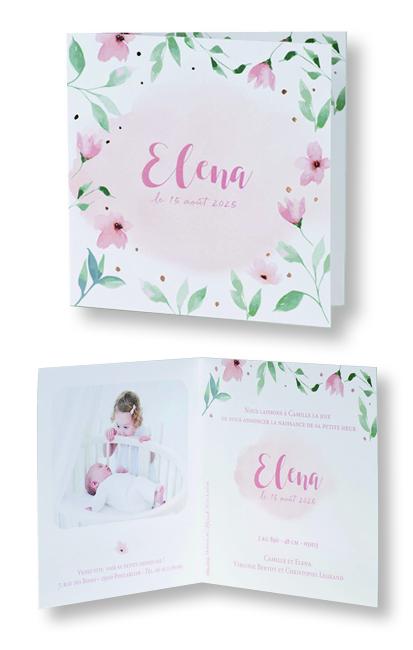 """Faire-part de naissance """"Fleurs et Aquarelle"""" 589004"""