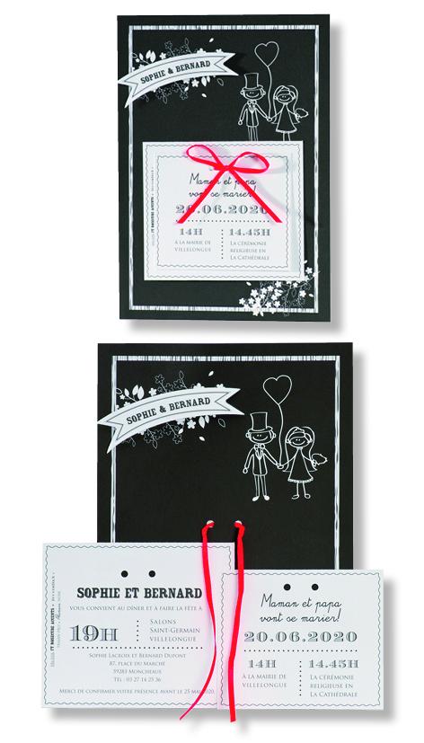 """Faire-part de mariage """"Bicolore"""" 106028"""